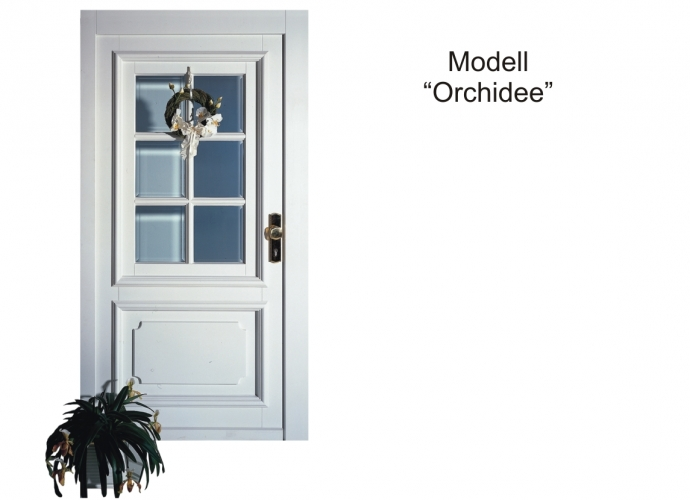 Haustür Holz Modell Orchidee Farbe weiss